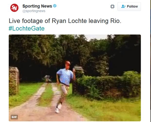 """""""Filmagem ao vivo do Ryan Lochte fugindo do Rio"""", brinca página no Twitter (Foto: Reprodução/Twitter)"""
