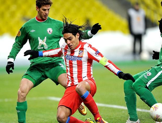 Falcao Garcia na partida do Atletico de Madri contra o Rubin Kazan (Foto: AFP)