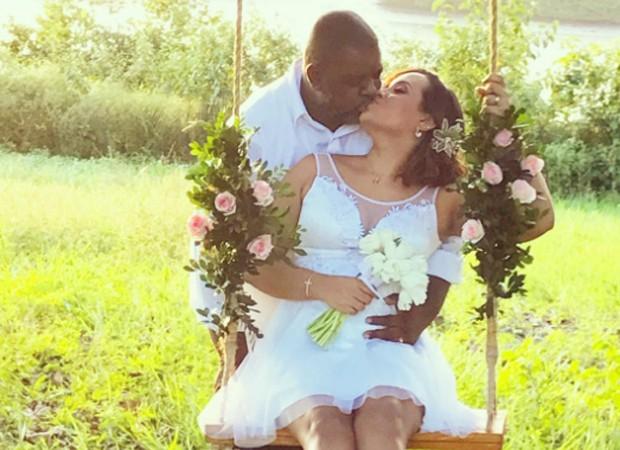 Péricles e a noiva, Lidiane Faria (Foto: Fausto Júnior)