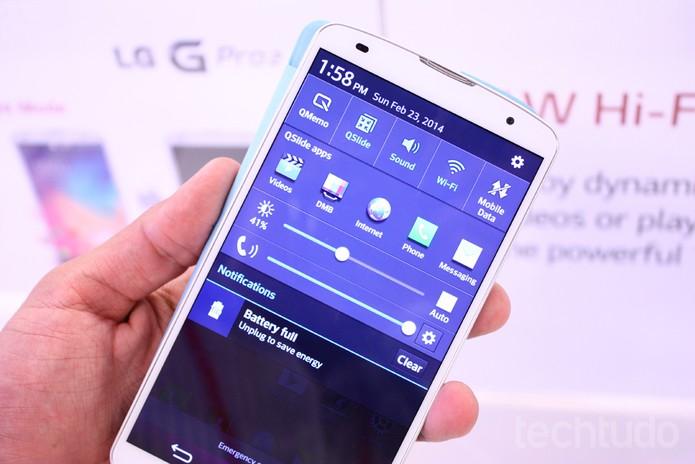 Configurações do LG G Pro 2 prometem: Snapdragon 800, rodando a 2.26 GHz (Foto: Allan Melo / TechTudo)