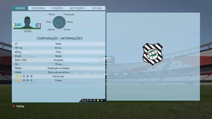 Zagueiro Junior - Figueirense (Foto: Reprodução/Lucas Mendes)