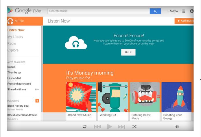 Anúncio da liberação do armazenamento gratuito de 50 mil músicas nas nuvens no Google Play Music (Foto: Reprodução)