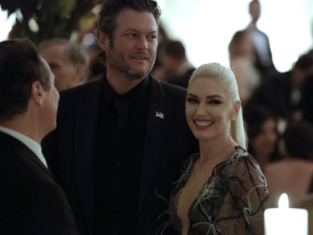 Gwen Stefani e Blake Shelton em evento na Casa Branca, em Washington, nos Estados Unidos (Foto: Yuri Gripas/ AFP)