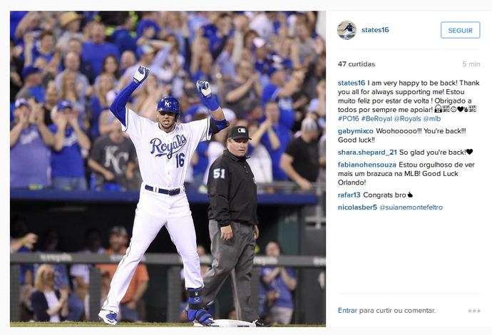 Paulo Orlando comemora volta à elite do beisebol (Foto: Reprodução/Instagram)
