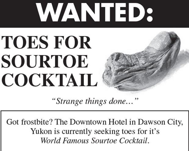 Americano foi multado em 500 dólares canadenses (R$ 1.137) depois que engoliu um dedo de pé ao provar um drinque tradicional em um bar de um hotel em Dawson City (Foto: Reprodução/downtownhotel.ca)
