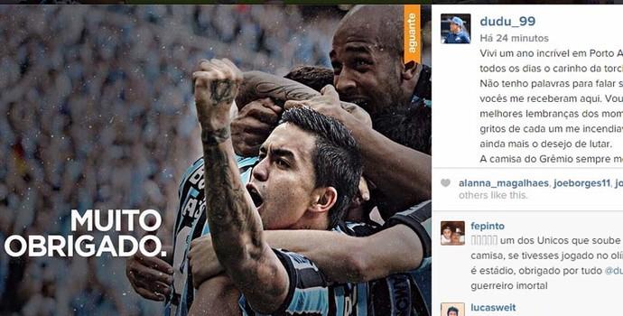 Dudu atacante Grêmio (Foto: Reprodução, Instagram)