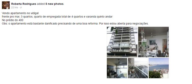 Anúncio de Roberta Rodrigues (Foto: Reprodução)