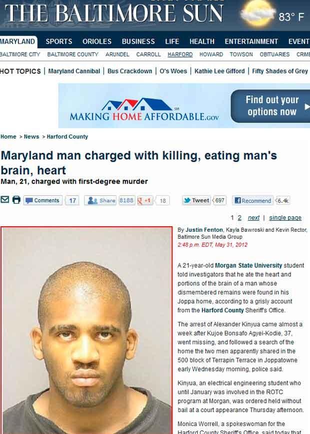 Estudante Alexander Kinyua, 21, que confessou nesta quinta (31) ter matado um homem a faca e comido seu coração e cérebro (Foto: Reprodução)