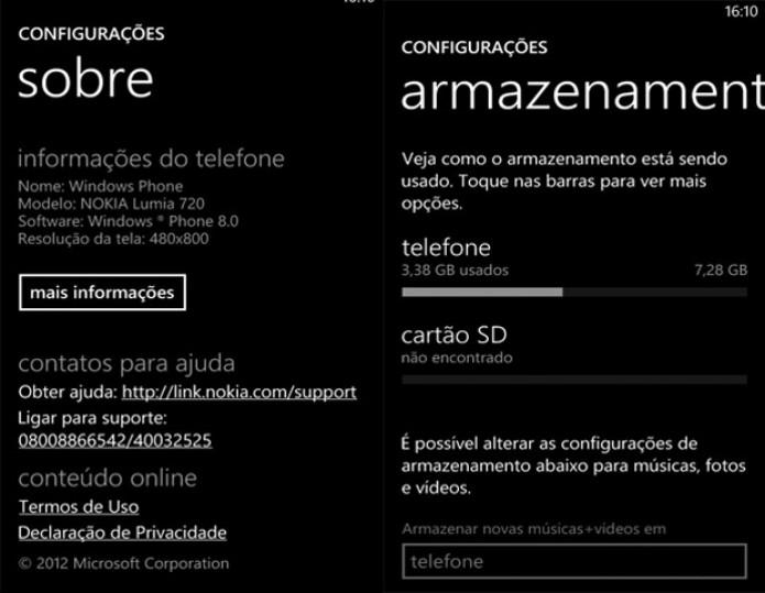 Especificações do Lumia 720 (Foto: Reprodução)