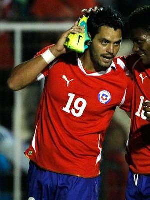 Sebastian pinto chile comemora gol paraguai amistoso (Foto: Agência AFP)