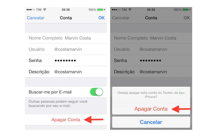 Excluindo uma conta do Twitter do iPhone (Foto: Reprodução/Marvin Costa)