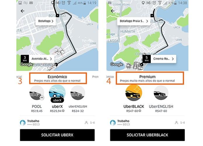 Fique atento para os alertas de preço alto ou muito alto no Uber (Foto: Reprodução/Barbara Mannara)