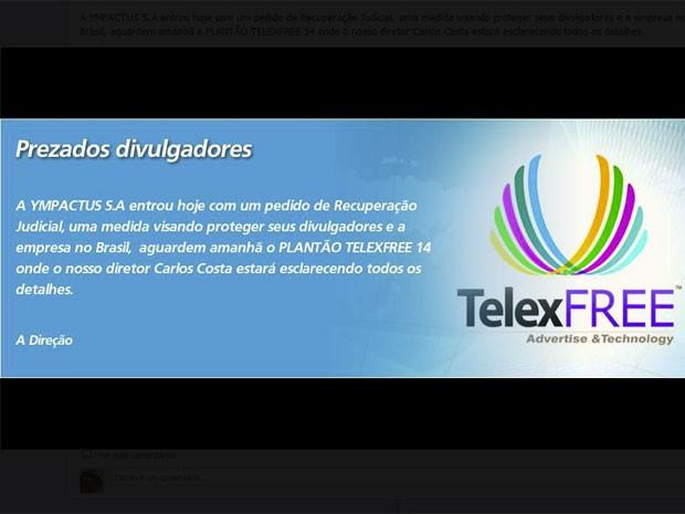 Comunicado na página da Telexfree no Facebook informa o pedido de recuperação judicial (Foto: Reprodução)