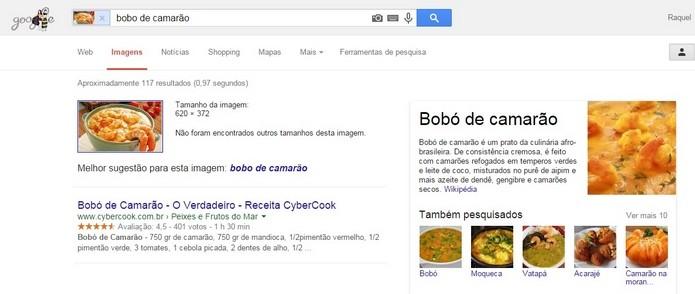 Google Imagens pode ajudar a descobrir receitas (Foto: Reprodução/Raquel Freire)