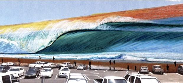 SURF - Artista Brasileiro Pinta Maior Mural De Surf Do Mundo No Havaí -  Rascunho do Mural - Hilton Alves (Foto: Arquivo Pessoal)