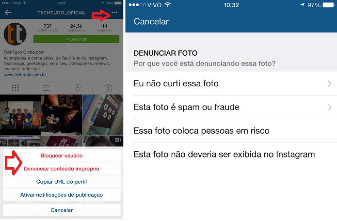 bPara bloquear alguém no Instagram, basta acessar o perfil da pessoa (Foto: Aline Jesus /Reprodução)