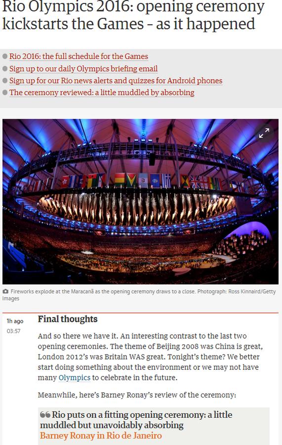 repercussão internacional, cerimônia de abertura, the guardian (Foto: Reprodução / The Guardian)