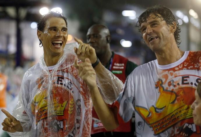Rafael Nadal e Guga na Sapucaí, carnaval (Foto: Reuters)