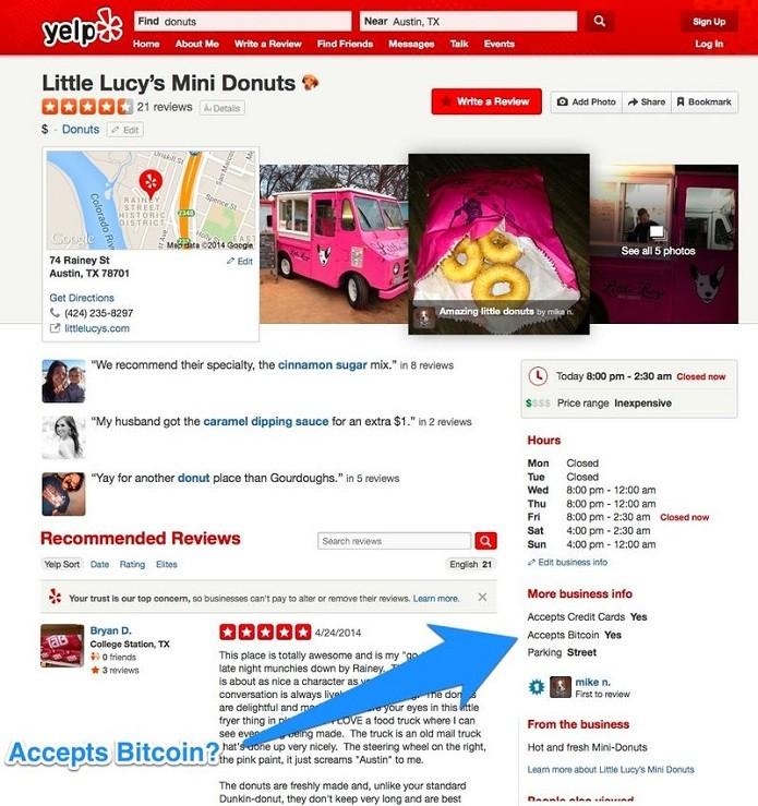 Yelp agora informa se local aceita bitcoin (Foto: Divulgação/Yelp)