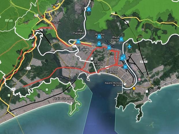Mapa interativo mostra grandes investimentos localizados na região (Foto: Reprodução)