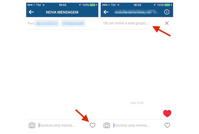 Enviando uma mensagem em um novo grupo do Instagram (Foto: Reprodução/Marvin Costa)