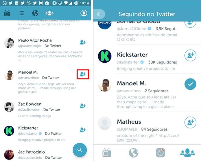 Usuário pode seguir perfil do Periscope tocando no ícone de + (Foto: Reprodução/Elson de Souza)