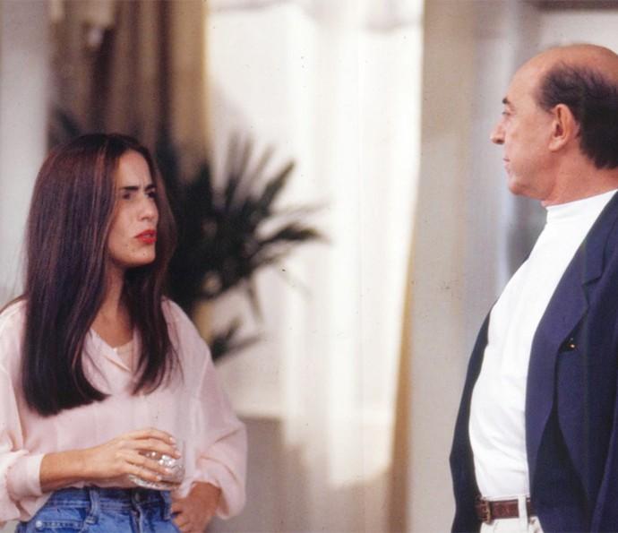 Gloria em cena com Raul Cortez, que intrepetava Virgílio (Foto: CEDOC/Globo)