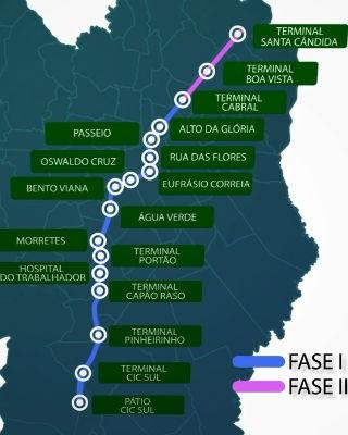 Metrô irá da CIC ao Santa Cândida nas duas etapas (Foto: Divulgação/ Prefeitura de Curitiba)