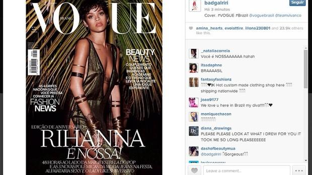 Rihanna  capa da Vogue Brasil e divulga imagem no Instagram (Foto: Reproduo/Instagram)