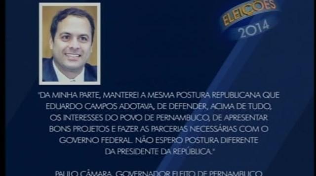 Paulo Câmara, governador eleito em PE, faz pronunciamento sobre as eleições presidenciais
