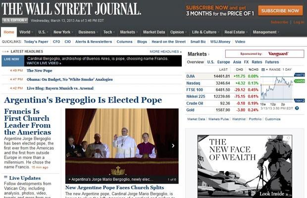 """Jornal dos EUA focado em economia """"Wall Street Journal"""" destaca que argentino é o primeiro jesuíta a ser eleito Papa (Foto: Reprodução)"""