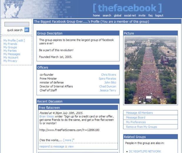 Facebook em sua versão de 2004 (Foto: Divulgação/Facebook)