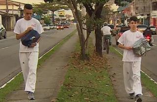 Bruno Leal e Lucas Balbinoti taekwondo São José trufas (Foto: Reprodução/ TV Vanguarda)