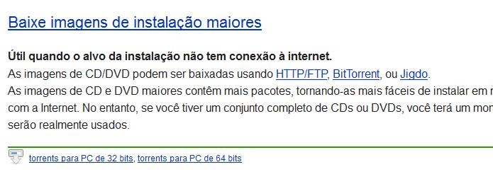 Cópias de distribuições Linux também podem ser baixadas via BitTorrent (Foto: Reprodução/Debian)
