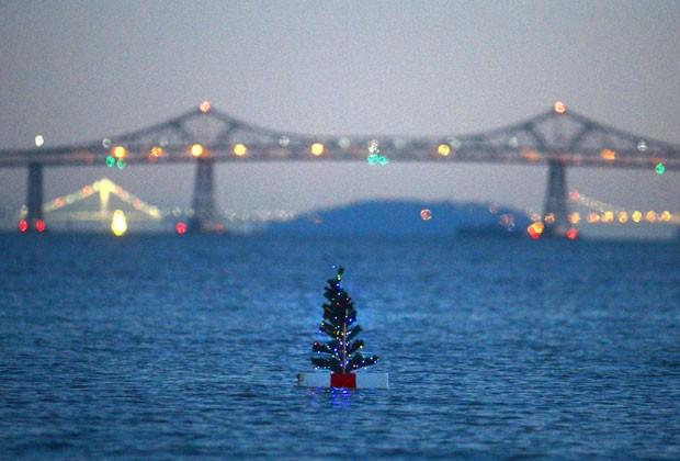 Árvore de Natal misteriosa flutua na Baía de San Pablo, na Califórnia (Foto: Marin Independent Journal, Frankie Frost/AP)