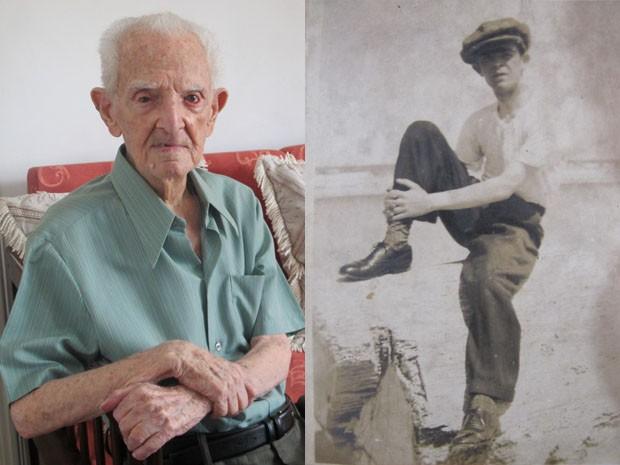 Miguel aos 104 anos e quando jovem, na praia, em Santos (Foto: Mariane Rossi/G1 e Miguel Norchese/Arquivo Pessoal)