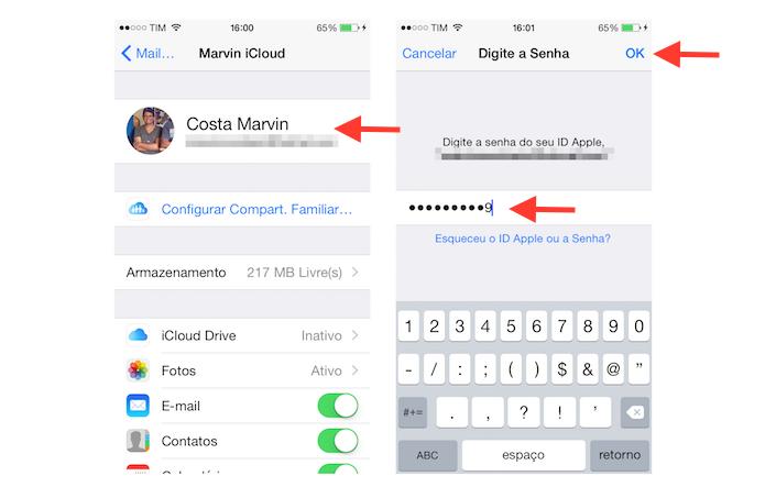 Acessando os detalhes de uma conta do iCloud no iOS (Foto: Reprodução/Marvin Costa)