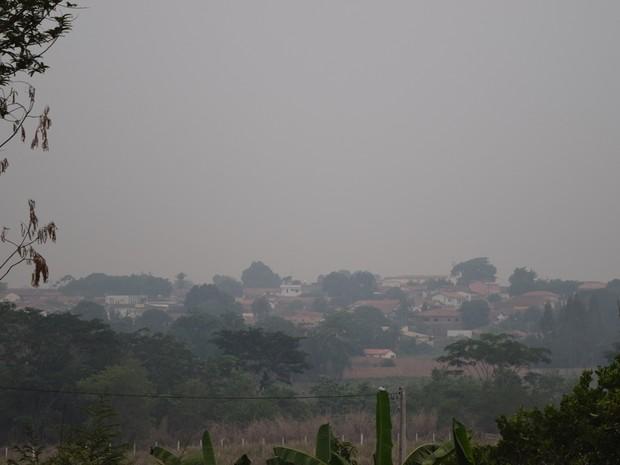 Fumaça registrada em Tocantinópolis (Foto: Dirceu Leno/Prefeitura de Tocantinópolis)