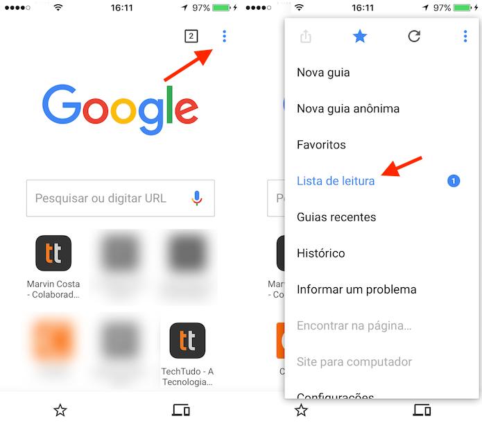 Caminho para acessar a lista de leitura do Google Chrome para iPhone (Foto: Reprodução/Marvin Costa)