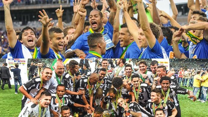 Cruzeiro campeão brasileiro e Atlético-MG campeão da Copa do Brasil (Foto: Arte / GloboEsporte.com)