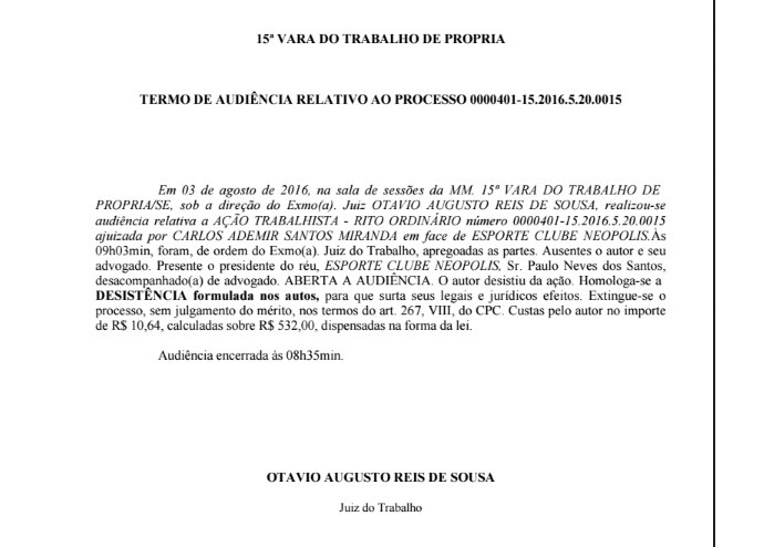 Documento-tombense-desistencia (Foto: Reprodução )