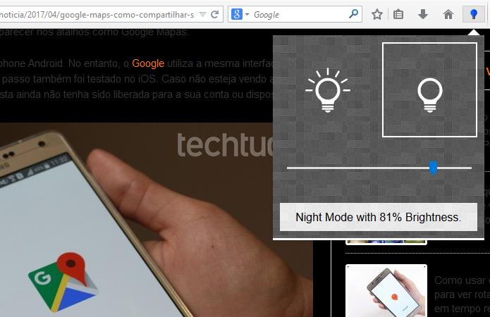 Night Mode Pro inverte cores de páginas à noite (Foto: Reprodução/Paulo Alves)