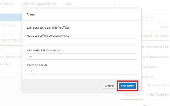 Em Canal, adicione um link para outro canal em seu vídeo (Foto: Reprodução/Juliana Pixinine)