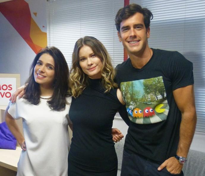 Sabrina Petraglia, Karen Junqueira e Marcos Pitombo participam de game do Gshow! (Foto: Karen Fideles/Gshow)