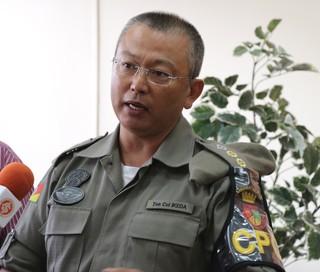 Tenente-coronel Ikeda Brigada Militar Gre-Nal (Foto: Eduardo Moura/Globoesporte.com)