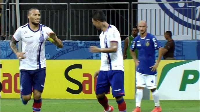 Kieza comemora segundo gol do Bahia sobre o Nacional, pela Copa do Brasil (Foto: Reprodução)