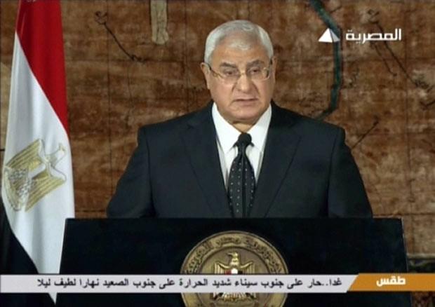 O presidente interino do Egito, Adli Mansour, discursa nesta quinta-feira (18) (Foto: AFP)