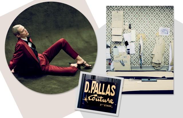 À direita, o ateliê da Pallas em Paris, onde a marca foi fundada em 1961 (Foto: Man Repeller/Krista Anna Lewis, Getty Images e Divulgação)