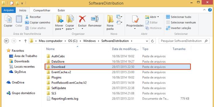 Acesse a pasta de downloads do Windows Update (Foto: Reprodução/Paulo Alves)