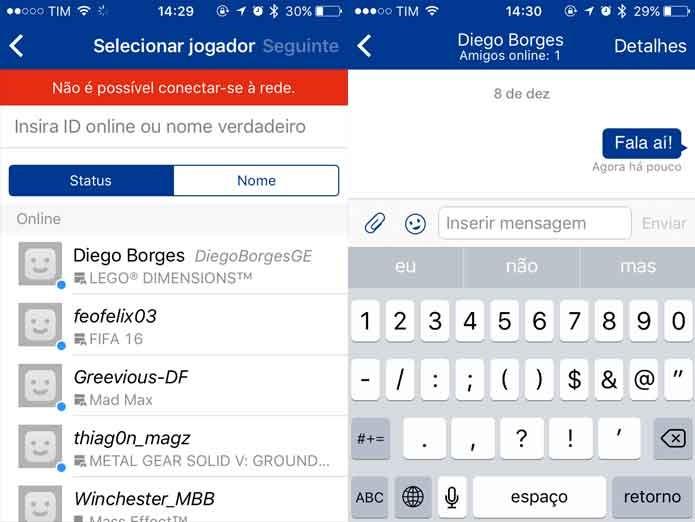 PlayStation Messages em uso (Foto: Reprodução/Felipe Vinha)